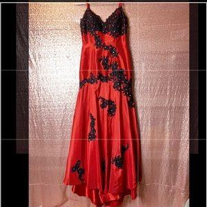 Jovani Red Taffeta & Black Lace Formal Gown